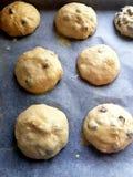 Broodjes met rozijnen klaar voor het braden stock foto's