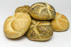 Broodjes op wit Stock Afbeeldingen