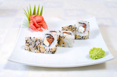 Broodjes, sushi en gember Royalty-vrije Stock Afbeeldingen
