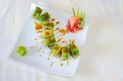 Broodjes, sushi en gember Stock Afbeelding