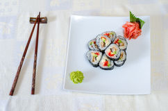 Broodjes, sushi en gember Royalty-vrije Stock Foto