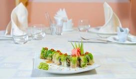 Broodjes, sushi en gember Stock Fotografie
