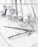 Broodjes van architectuurblauwdrukken en huisplannen Royalty-vrije Stock Fotografie