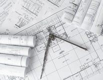 Broodjes van architectuurblauwdrukken en huisplannen Royalty-vrije Stock Afbeeldingen