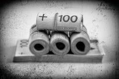 Broodjes van bankbiljetten - zloty poetsmiddel - voor oude foto worden gestileerd die Stock Afbeelding
