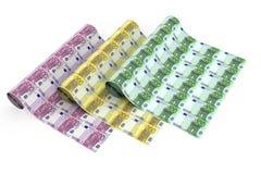 Broodjes van euro bankbiljetten op witte achtergrond Stock Afbeeldingen