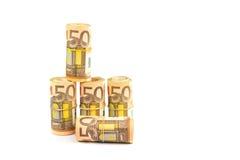 Broodjes van euro die nota's op witte achtergrond worden geïsoleerd Stock Fotografie
