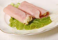 De broodjes van de ham en van de kaas Stock Foto