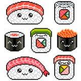 Broodjes van pixel plaatsen de leuke sushi gedetailleerde illustratie geïsoleerde vector vector illustratie