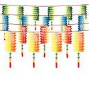 Broodjes van veelkleurige Chinese lantaarns Stock Afbeelding