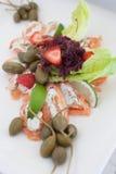 Broodjes van zalm met kwark, capsuleermachines en strawberies Royalty-vrije Stock Fotografie