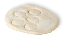 Broodjesdeeg met gedrukt door cirkels Stock Afbeelding