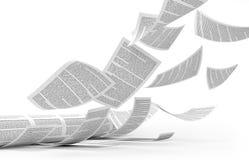 Broodjesdruk Vliegende gedrukte bladen van document Stock Foto