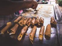 Broodjespannekoek, Voedselstraat Stock Fotografie