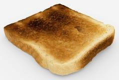 Broodplak - enig gebakken toostclose-up - op wit Stock Afbeeldingen