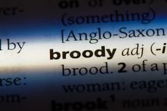 Broody. Word in a dictionary.  concept Stock Photo