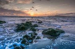 Brook Bay at Sunset on a windy day. Compton Bay, Isle of Wight, at sundown Royalty Free Stock Image