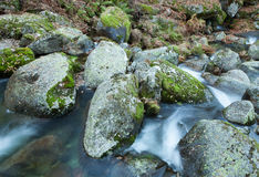 Brook and big rocks with moss Royalty Free Stock Photos