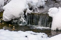 Brook with cascades in winter. Lovely nature background Stock Photos