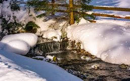 Brook with cascades in winter forest. Lovely winter nature scenery royalty free stock image