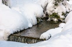 Brook with cascades in winter. Lovely nature background Royalty Free Stock Photo