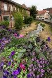 Brook flows through the historic city center Royalty Free Stock Photos