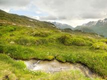 Brook in fresh Alps meadow, snowy peaks of Alps in background. Cold misty and rainy weather in mountains at the end of fall. Royalty Free Stock Image