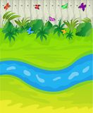 Brook on a green lawn and wooden fence. Vector illustration Royalty Free Stock Photo