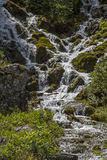 Brook in Karwendelvalley. Cheerfully gushes the small creek on countless water levels through the Karwendel valley in Tyrol stock photography