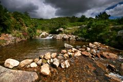 Brook at Meldon Quarry nr Stock Image