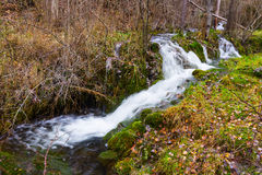 Brook with moss stones at forest Royalty Free Stock Images