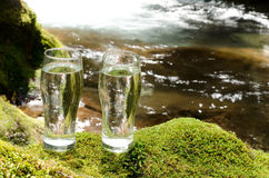 Brook and two glasses Stock Photo