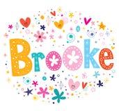 Brooke girls name decorative lettering type design Royalty Free Stock Photo