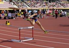 Brooke JAWORSKI die 400 metershindernissen op het IAAF-Wereldu20 Kampioenschap in werking stellen in Tampere, Finland 11 Juli, 20 stock fotografie