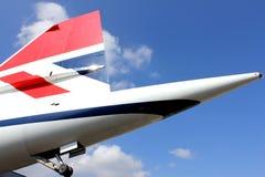 BROOKLANDS,英国- 2012年4月02日:协和飞机尾在英国航空公司号衣的 免版税库存图片