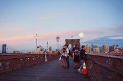 Brooklin Bridge en la puesta del sol Fotografía de archivo libre de regalías