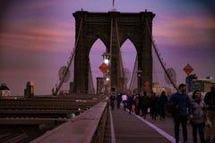 Brooklin Bridge sulla vista di tramonto Fotografia Stock
