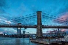 Brooklin bridge at sunset stock image