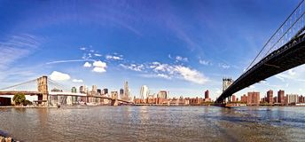 Brooklin and Manhattan bridges taken from quay Stock Photography