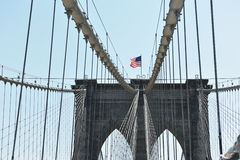 Brookline bridge in Sunny day. With american flag Royalty Free Stock Photo