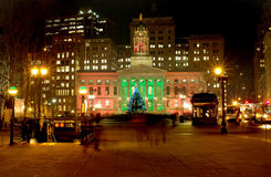 Brooklyn Borough Hall Christmas 2010. Christmas lighting and tree add festive atmosphere to Brooklyn's Borough Hall and plaza royalty free stock image