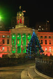 Brooklyn Borough Hall Christmas 2010. Christmas lighting and tree add festive atmosphere to Brooklyn's Borough Hall and plaza stock photo