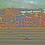 Brooklyn BQE & Manhattan som &EmpireStateBuiling Royaltyfri Bild