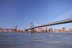 Brooklyn-Brücke in New York Foto wurde von Brooklyns Seite geschossen Stockbild