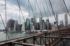 Brooklyn-Brücke, New York, Skyline Stockfotografie