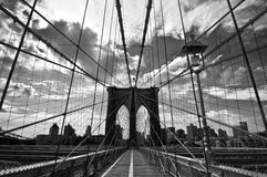 Brooklyn-Brücke, Schwarzweiss Lizenzfreie Stockfotos