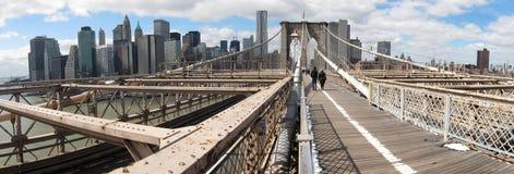 Brooklyn-Brückeenpanorama Lizenzfreies Stockbild