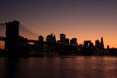 Brooklyn-Brückeenschattenbild Stockfotos