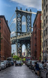 Brooklyn-Brücken-Ansicht von Washington St stockfoto