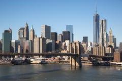 Brooklyn-Brücken-Sonnenuntergang New York City Manhattan Stockfotos